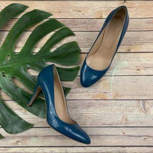 J.Crew Sloane bright blue patent leather heels